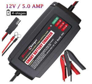 BMK 12V 5A Smart Battery Charger Portable Battery Maintainer with De