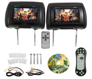 Rockville RDP711-BK 7 Black Car Headrest Monitors w DVD Player USB HDMI Games