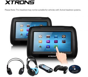 XTRONS Black 2X Twin Car headrest DVD player 9 HD Touch Screen with FM Game Disc Mp3 IR Headphones